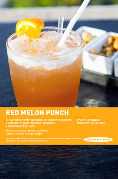 Red melon punch ( watermelon pucker schnapps, Red Stag by Jim Beam, pineapple juice, lemonade, club soda) Peach Drinks, Bourbon Drinks, Alcoholic Drinks To Try, Bartender Recipes, Yummy Treats, Yummy Food, Delicious Recipes, Jungle Juice, Orange Wedges