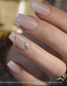 54 Beautiful and romantic nail art design ideas - mix-matched neutral nails, nud. - 54 Beautiful and romantic nail art design ideas – mix-matched neutral nails, nude nails ,nail acr - Coffin Nails Designs Summer, Summer Acrylic Nails, Summer Nails, Acrylic Nails With Glitter, Wedding Acrylic Nails, Bridesmaid Nails Acrylic, Nails With Gold, Gold Tip Nails, Acrylic French Manicure