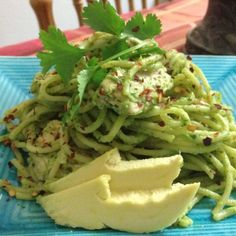 Creamy Avocado and Chicken Pasta. You'll need: Spaghetti pasta 1 large Avocado Fresh lime juice (I used two) Fresh cilantro (1 cup) Minced garlic (I used 3 cloves but I love garlic) Chicken breast (2) Salt & Pepper  Directions: 1. Mix everything but pasta and chicken in blender until smooth and creamy. 2. Cut chicken into chunks. Cook and season. 3. Cook pasta to box directions. 4. Place everything in a large bowl and mix all. And last enjoy!! Maybe with a bottle of wine. **Note: This must…