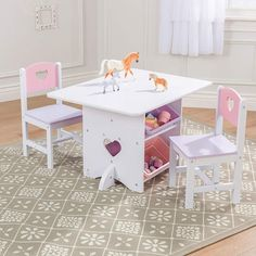 19eb7334b5e0 KidKraft 26913 Juego infantil de mesa y 2 sillas de madera con diseño  corazón, muebles