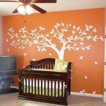 Painted tree on the wall - love the simplicity of the orange and white.