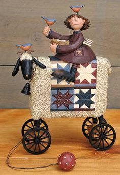 Girl on Sheep With Bluebirds Figurine – Everyday Folk Art Figurines & Collectibles – Williraye Studio [WW7891] - $50.00 : The Official Williraye Studio Store, Folk Art Collectibles and Figurines $50.00