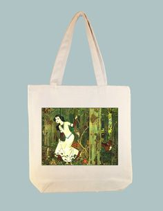 Beautiful Vintage Snow White Illustration Natural or Black Canvas Tote by Whimsybags, $12.00
