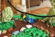 Lego zipline guy on cake!
