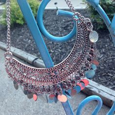 Gypsy coin statement necklace This awesome warm weather statement necklace does have two places where dangles are missing - can't tell when wearing tho! Jewelry Necklaces