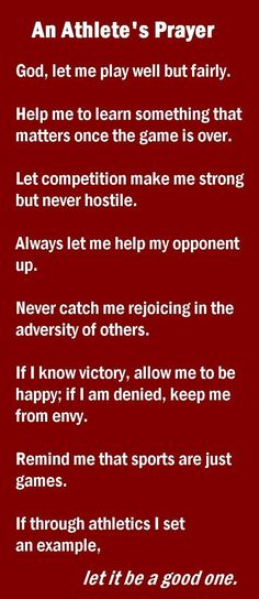 Good rules for sports as well as life.