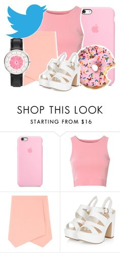 """""""half eaten doughnuts and full twitter feeds: the """"pink illusion"""""""" by god-girl ❤ liked on Polyvore featuring Glamorous, Dorothy Perkins, Daniel Wellington, stupid, sad, society and depressing"""