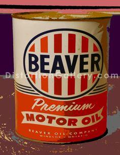 vintage beaver motor oil can
