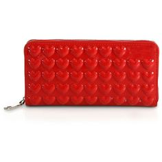 Marc Jacobs Heart-Embossed Leather Zip Continental Wallet (3.485.985 VND) ❤ liked on Polyvore featuring bags, wallets, apparel & accessories, leather credit card holder wallet, leather zipper wallet, genuine leather wallet, marc jacobs wallet and red wallet