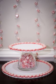 This DIY cake stand would be easy to customize by changing the candy to match the occasion