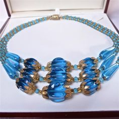 Vintage Jewellery Stunning Triple Stranded Art Deco Czech Blue Glass Necklace | eBay