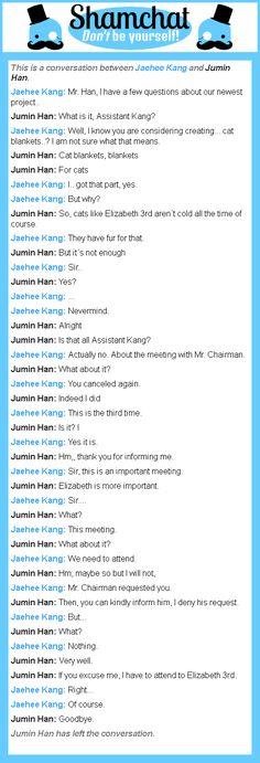 A conversation between Jumin Han and Jaehee Kang