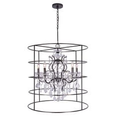 Five Light Chandelier Urban industrial wrought iron fused with whimsical crystal, contrast for the perfect modern chic design in the Filmore collection. Featuring a base finished in vibrant bronze outfitted in luxurious clear hand cut crystal, it is the perfect modern traditional mix. This chandelier will add a bit of industrial edge to any room in the house. Whether in a formal or relaxed setting this fixture is sure to be the focal point.