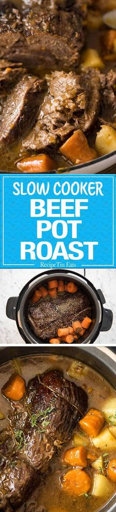 The ultimate one pot family meal - Slow Cooker Beef Pot Roast! recipetineats.com Slow Cooker Recipes Family, Crock Pot Slow Cooker, Crock Pot Cooking, Pressure Cooker Recipes, Crockpot Recipes, Cooking Recipes, Blade Roast Slow Cooker, Family Meals, Beef Pot Roast