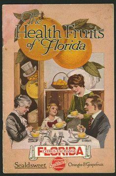Vintage Ad for Florida Citrus, I love the orange man in the top hat. Old Florida, Vintage Florida, State Of Florida, Florida Vacation, Florida Travel, Florida Maps, Vintage Labels, Vintage Ads, Florida Oranges