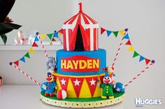 I made this three tier circus extravaganza for my little boys first birthday party. Its complete with edible circus clowns, balancing elephant, big top and edible carnival bunting. I hope you like it as much as we did.