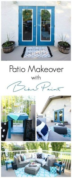 A stunning backyard makeover inspired completed with Behr paints. Love the bright painted blue doors, and the grey outdoor sectional. Beautiful DIY pallet side tables, and black and white accessories complete the space.