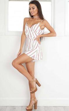 Sassy Minx playsuit in mauve stripe