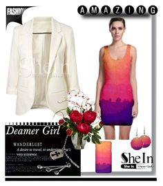 """Shein contest - White Sleeves Blazer"" by stine1online ❤ liked on Polyvore featuring Chrome Hearts and Nearly Natural"