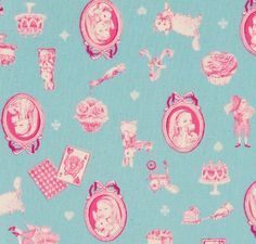 """""""Alice Portrait in Light Blue"""" by House from the collection """"Alice"""". Available at www.pinkcastlefabrics.com."""