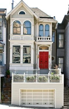 Red door - color combination's for our row house Exterior Paint Colors For House, Paint Colors For Home, Style At Home, Architecture Design, House Paint Color Combination, Second Empire, Victorian Homes, House Painting, Old Houses