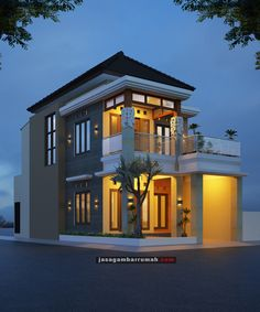 Layanan @ Jasa Gambar Rumah - Rumah Hook 2 lantai Konsep Bali di Tulungagung Minimalist Layout, Minimalist Home, Wallpaper Iphone Neon, My House Plans, Tropical Houses, Little Houses, Home Fashion, Building Design, Kendo