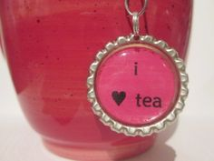Tea Infuser Bottle Cap Charm i heart tea 2 by TillaHomestead