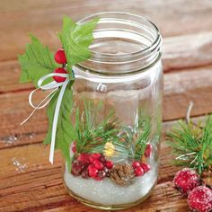 Christmas DIY -- Brighten up your home with these gorgeous holiday Mason Jar Luminaries. Christmas Jars, Christmas Centerpieces, Winter Christmas, Christmas Holidays, Christmas Decorations, Christmas Wishes, Mason Jars, Mason Jar Crafts, Christmas Projects
