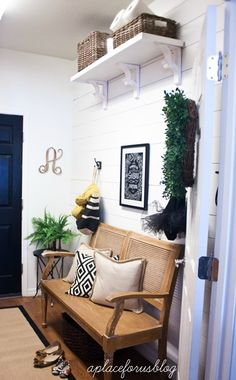 plank wall via Handmade Home Porch Decorating, Decorating Ideas, Decor Ideas, Diy Ideas, Room Ideas, Entry Foyer, Front Entry, Floor Molding, Plank Walls