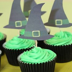 Wizard of Oz Party Ideas - Wicked Witch of the West Cupcakes. Printable PDF available for Witches Hats http://www.partyideasuk.co.uk/library/party-themes/wizard-of-oz-party-ideas/witches-hat-toppers.aspx