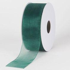 Sheer Organza Ribbon Hunter Green - 7/8 inch x 25