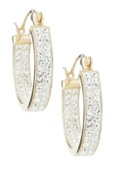 14K Yellow Gold Pave Crystal Hoop Earrings by Non Specific on @HauteLook