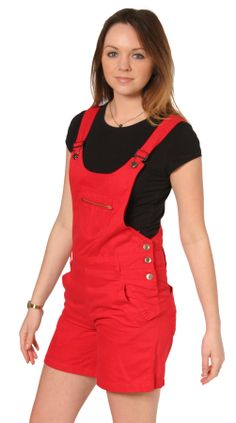 Lightweight Cotton, Bright red dungaree shorts. #dungareeshorts #redoveralls #shortalls #dungarees #bibshorts #overalls