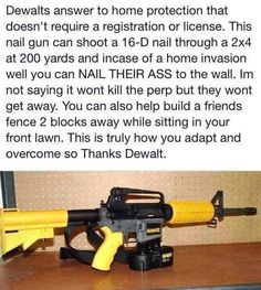 Alternative defense . Dewalt nail gun.