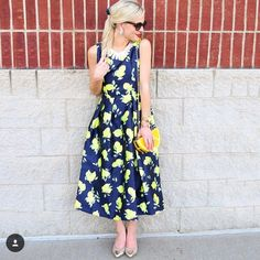 Navy Lemon Print Midi Dress This adorable dress is vintage inspired and features a zip up back Dresses Midi