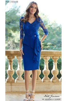 VESTIDO CORTO MADRINA CON PEPLUM - Moda Disparate Modest Dresses, Blue Dresses, Short Dresses, Formal Dresses, Cocktail Vestidos, Sewing Collars, Dress Outfits, Fashion Dresses, Mother Of The Bride Dresses Long