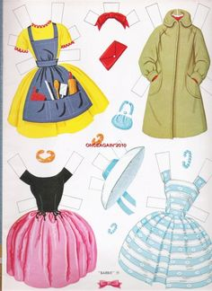 1963 Barbie paper doll clothes / eBay