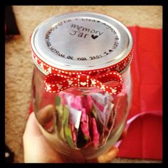 Our relationship memory jar. I've been keeping track of dates, memories, inside jokes etc. that we've had while dating and writing it on slips to put in this mason jar. On our one year anniversary I'm giving it to him so we can share it together :) very cute and thoughtful gift idea