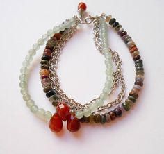 Penelope gemstone beaded bracelet, multi 4 strand chain boho bracelet, turmaline carnelian aventurine silver gift for her October birthstone