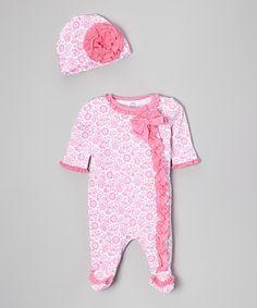 Look what I found on #zulily! Pink Floral Footie & Beanie by Baby Essentials #zulilyfinds