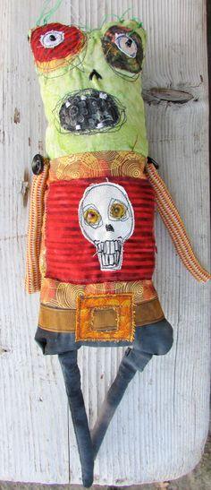Skull the zombie handmade monster art doll by monstermaud on Etsy