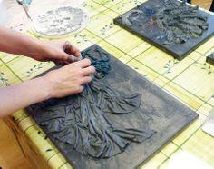 work in progress Cement Art, Cement Crafts, Altered Canvas, Altered Art, Wall Sculptures, Sculpture Art, Cement Flower Pots, Collage Techniques, Acrylic Wall Art