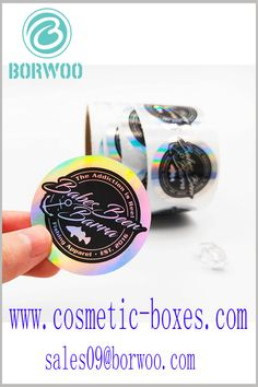 Laser round labels for cosmetics. Looking at the laser paper labels from different angles, they have different visual senses and are very attractive. Blister Packaging, Perfume Packaging, Bottle Packaging, Print Packaging, Cosmetic Labels, Cosmetic Box, Cosmetic Packaging, Cardboard Boxes With Lids, Laser Paper