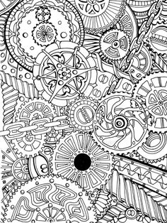 """Approx. 15cm x 20cm (6"""" x 8"""") Rotring Rapidograph pen on cartridge paper. Created in response to a friend's request that I create a pattern based on cogs and chains and screws and such like. Thank ..."""
