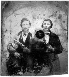 New Reprint of a circa 1872 photo of wild west Confederate solider veterans, stagecoach, train, and bank robbers Jesse James and Frank James. Old West Photos, Rare Photos, Photos Du, Vintage Photographs, Vintage Photos, Vintage Art, American Civil War, American History, Jesse James Outlaw