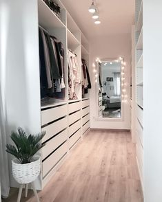 Minimalist Closet Design With Drawers With Open Shelving And Holders - A white . - Minimalist Closet Design With Drawers With Open Shelving And Holders – A white minimalist closet - Closet Design, House Interior, Bed Designs With Storage, Bedroom Bed Design, Minimalist Closet, Home, Wardrobe Room, Bedroom Design, Home Decor