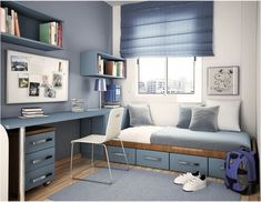 Stylish and ergonomic blue bedroom for a teen boy.