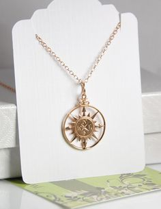Compass necklace rose gold compass necklace 18K by JWjewelrybox