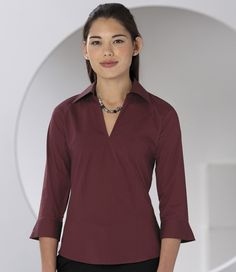 Russell Collection Ladies 3/4 Sleeve V Neck Shirt