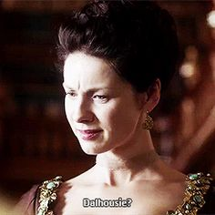 """204 (gif) - Claire: """"Well, I thought if it was a boy we could name him Lambert.""""  Jamie: """"Lambert?""""  Claire: """"Yes. After my uncle.""""  Jamie: """"Not to disrespect your uncle, but it's a wee bit... English. How about Dalhousie?""""  Claire: """"Dalhousie?""""  Jamie: """"Aye, after Dalhousie Castle. It's a braw name.""""  Claire: """"Dalhousie, I mean... it sounds more like a sneeze!"""""""